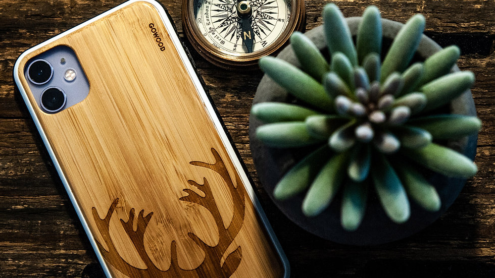 iPhone 11 wood phone case with TPU bumper