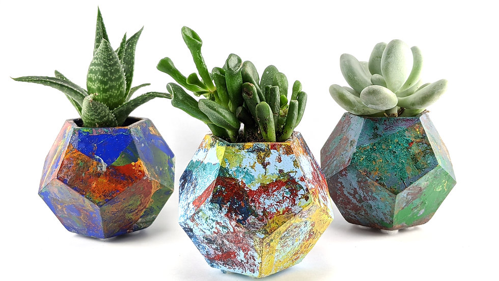Succulent Planters set of 3- Enamel Swirled