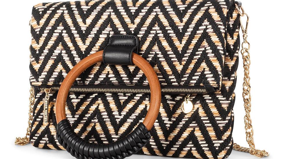 Piacevole- Crossbody Bag straw and leather-like trim