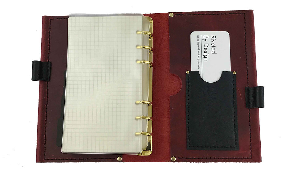 Red Leather Personal Planner with Black Accent