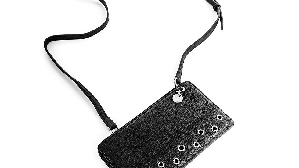 Falsetto- leather wallet with removable chain strap