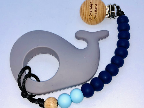 Silicon Whale Teether Strap & Clip