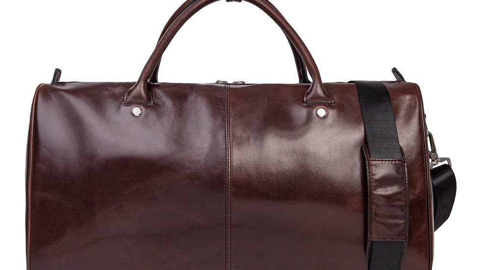 Portoi- Waxed leather duffle bag with padded sleeve section- Brown