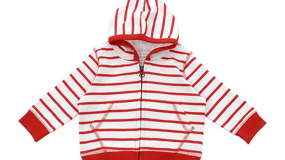 Hoodie in Red Marseille Stripe