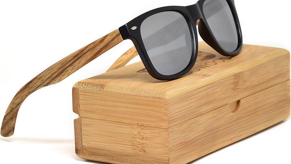 Zebra wood sunglasses with polarized lenses