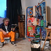 Olivier Valézy dans son atelier de Vitry-sur-Seine