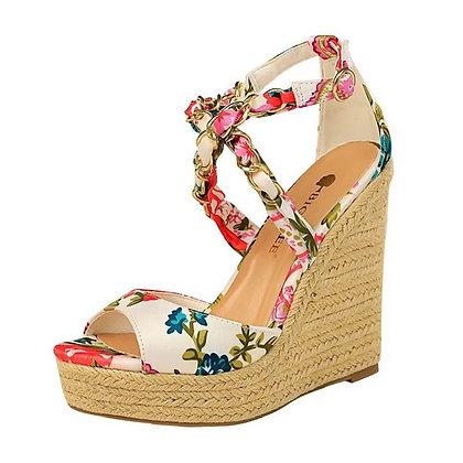 Peep Toe Cross Strap Wedge Sandals