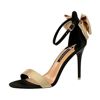 Open-toed Satin Bowknot Sandals