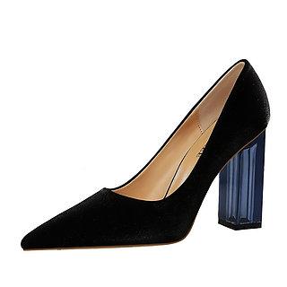 Transparent Crystal High Heels Satin Shoes
