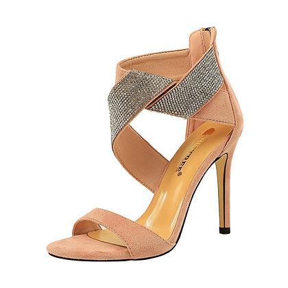 Suede Cross Diamond Stiletto Heels Open-Toe Sandals