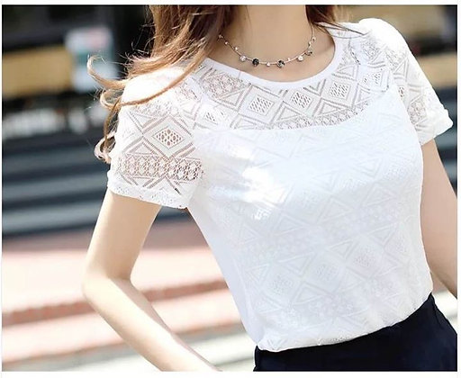 Short Sleeve Hollow Out Lace Blouse
