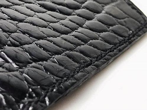 Black on Black Alligator Skin Minimalist Wallet
