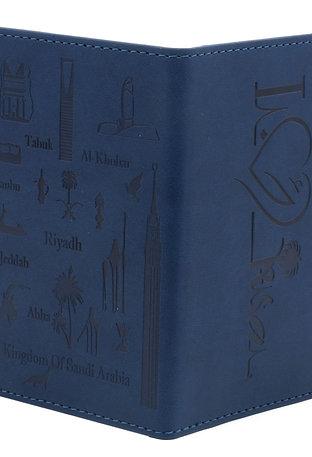 غلاف لجواز السفر عليه معالم المملكة مع جيوب إضافية