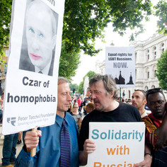 Russia protest with Stephen Fry 10 Aug 13