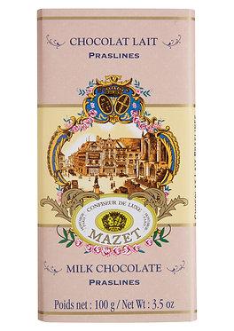 MILK PRASLINES CHOCOLATE BAR / 100 G.