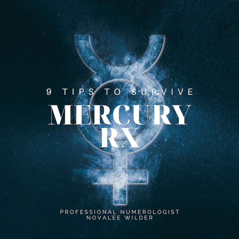 Deep blue background with the planetary symbol for mercury and the text 9 tips to survive Mercury Rx by Professional Numerologist Novalee Wilder