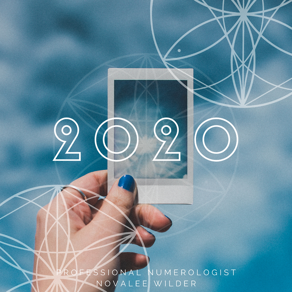 A left hand with blue nailpolish on the thumb fingernail is holding a polaroid picture of the same blue sky that appeas behind the image. The number 2020 is written across the full picture. The Numerology Forecast for 2020 by Novalee Wilder