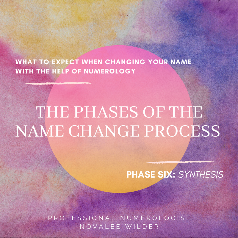 Thst to expect when changing your name with the help of Numerology. The phases of the name change process. Phase six: Synthesis.