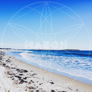 view from the beach into the sea and the the curve of an island in the horizon The word MARCH written acroos in capital letters. The Numerology Forecast by Novalee Wilder