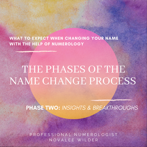 What to expect when changing your name with the help of numerology. The phases of the name change process. Phase three: insights & Breakthroughs. Professional Numerologist Novalee Wilder.