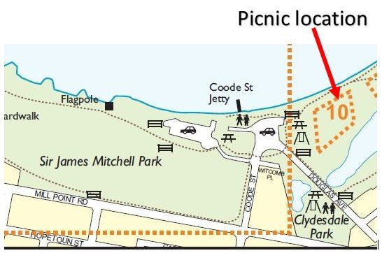 "The picnic will be located in ""Zone 10"" on the South Perth Foreshore of Sir James Mitchell Park"