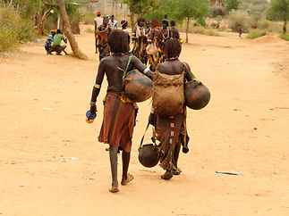 Local Ethiopian people coming back from
