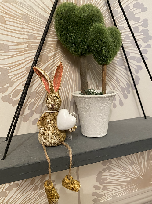 Hector shelf sitting rabbit with white heart