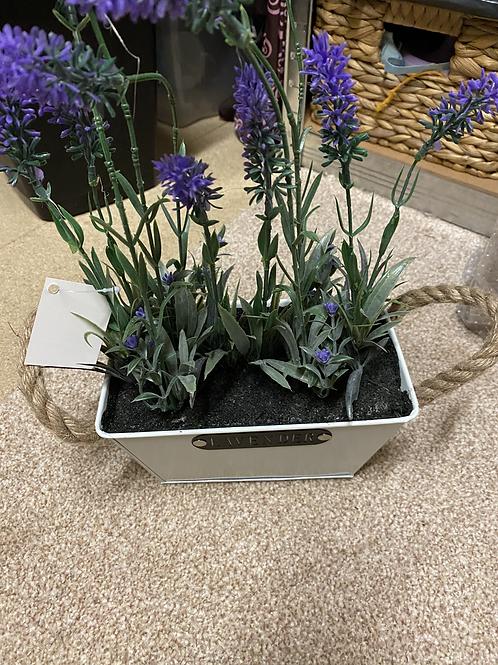 Faux lavender in trough