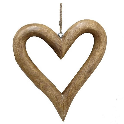Hanging natural chubby heart 38cm