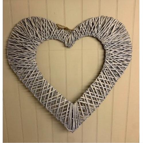 Hanging woven wicker heart 75cm