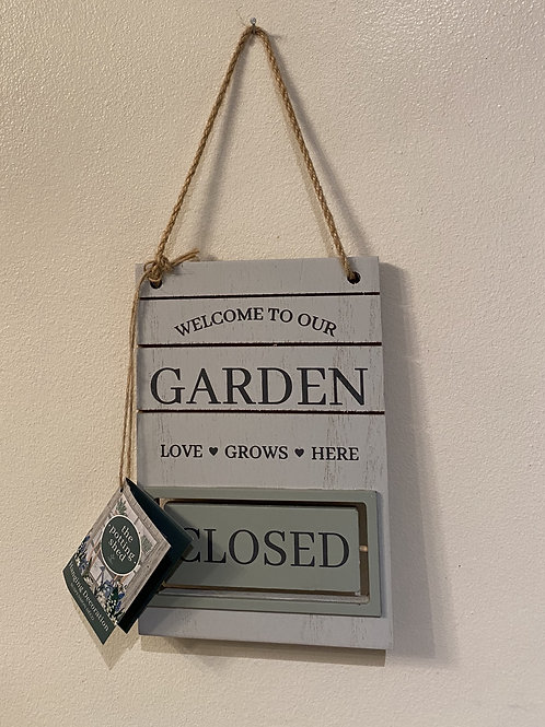 Potting shed open/closed sign