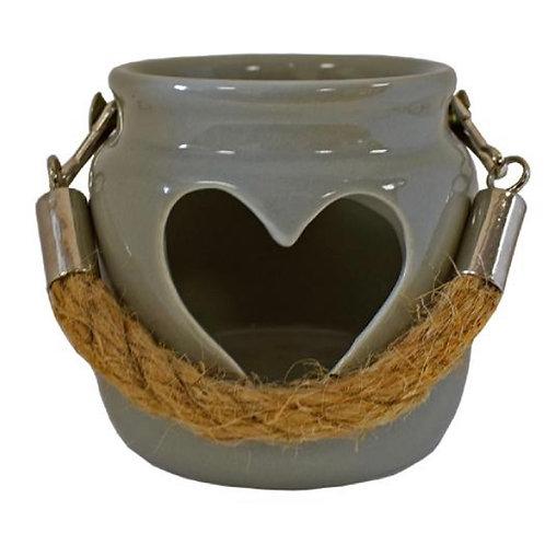 Cut out heart tealight holder grey 7cm