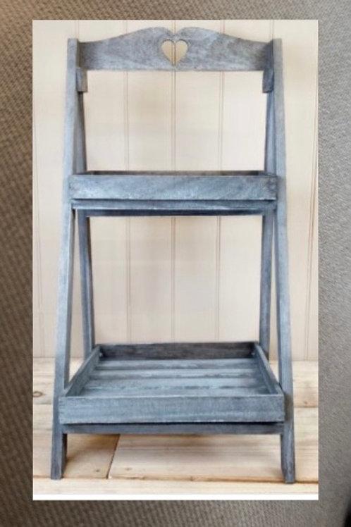 Grey wooden tiered shelf display 65cm