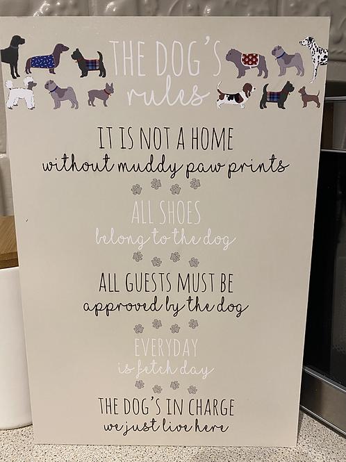 Cat/Dog rules plaque