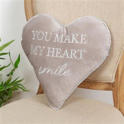 Plush grey heart cushion