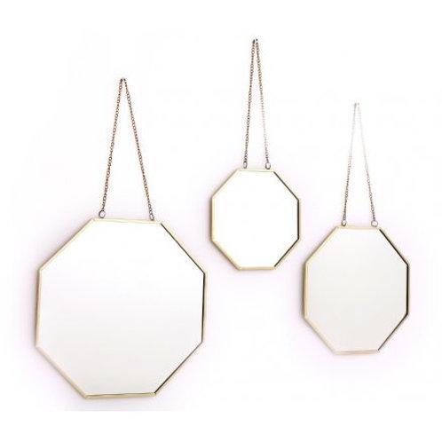 Gold Geometric Mirrors, Set of 3