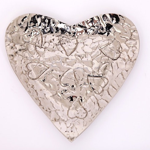 Silver Heart Bowl With Embossing