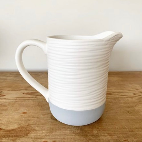 White and grey jug 14cm