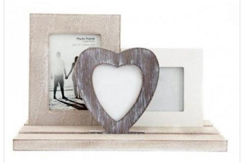 Triple wood frame display 29cm