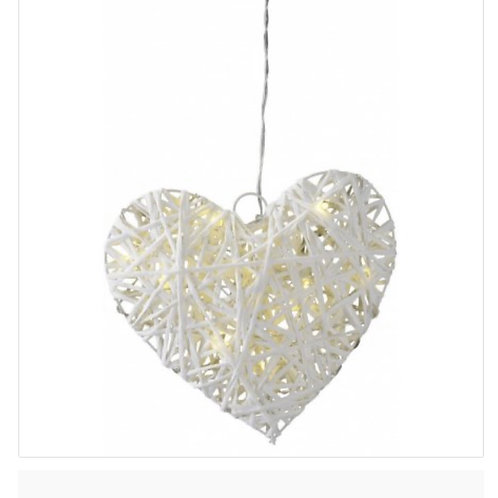 LED hanging heart with timer 20cm