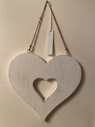 Hanging wooden chunky cut out heart 30cm