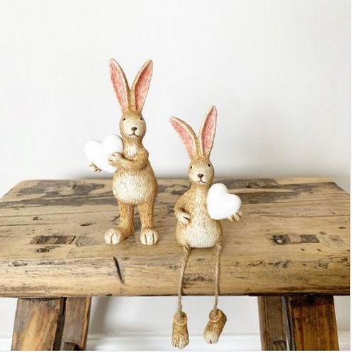 Cyril rabbit with white heart (bunny on left)