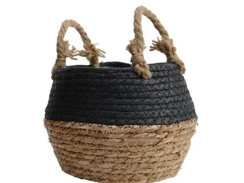 Grass round basket natural & black 18cm