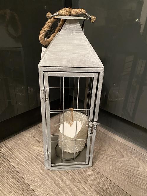 Grey whitewashed metal lantern 50cm