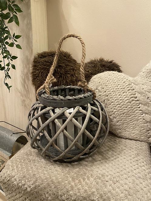 Rounded grey lattice lantern 27cm
