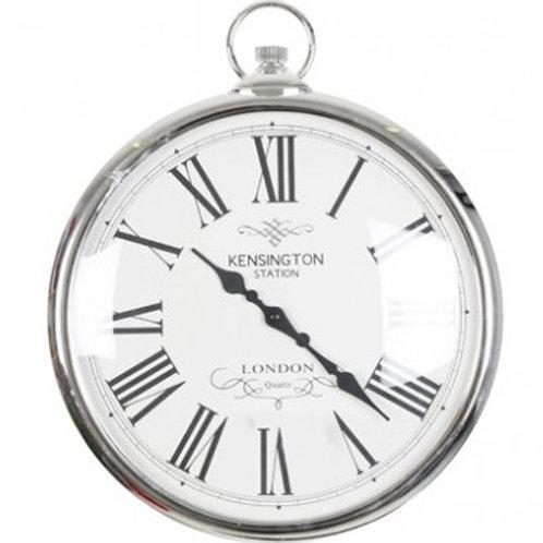 Silver Pocket Watch Clock, Large