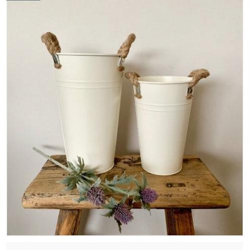 Flower bucket cream large (shown on left in photo)