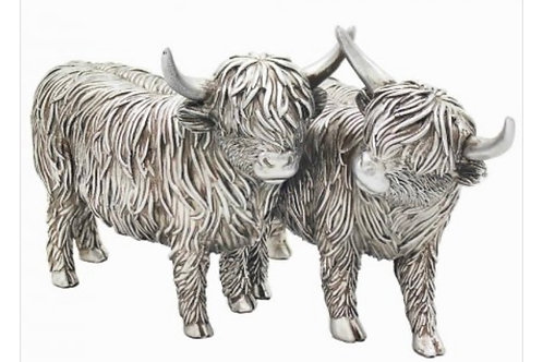 Silver highland cow duo 27cm
