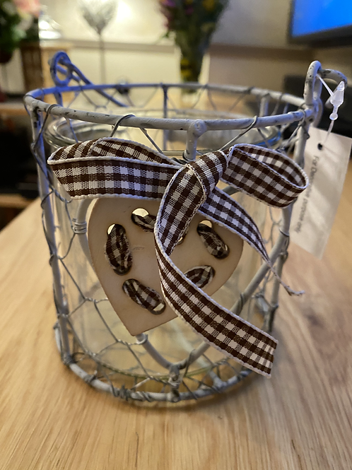 Rustic heart candle holder grey