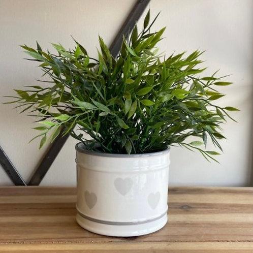 Heart print grey pot 13cm
